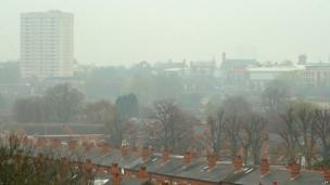 Houses in Birmingham covered by smog