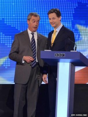 Deputy Prime Minister Nick Clegg (right) and Ukip leader Nigel Farage