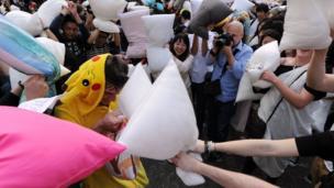 Pillow fight in Hong Kong