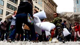 Pillow fight in Seattle