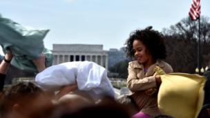 A pillow fight outside the White House in Washington DC