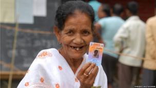 A voter in Assam's Sibsagar district