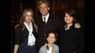 Peaches Geldof with Bob Geldof, Pixie Geldof (right) and Tiger Lily Hutchence Geldof (front)