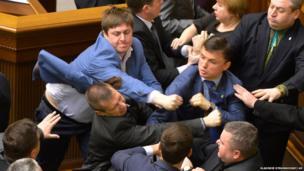 Confrontation in the Ukrainian parliament in Kiev