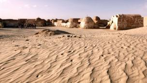 A picture taken on April 5, 2013 shows, amidst desert sand, a film set where numerous Star Wars scenes were filmed in Ong Jmel, in southern Tunisia