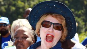 South African opposition leader Helen Zille in Welbedacht an informal settlement near the coastal city of Durban on 5 April 2013