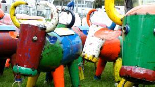 Colourful metal cows
