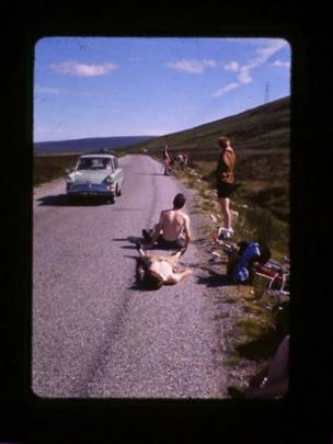 Cyclists on the A9 in July 1966