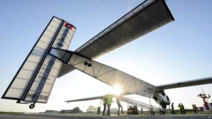 The new experimental aircraft Solar Impulse 2 in Payerne, Switzerland, on 14 April 2014. The aircraft is the second solar plane of the Solar Impulse project. The main goal of the project is to circumnavigate the world with an aircraft, with a 72 metres wingspan, powered only by solar energy.