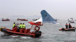 Capsized ferry surrounded by rescue boats