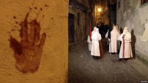 Bloody hand on a wall next to a group of penitence in the town of Verbicaro, southern Italy (18 April 2014)