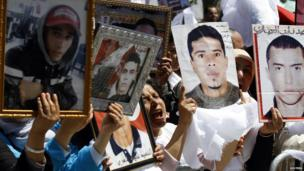 Demonstrators in Tunis, Tunisia - Wednesday 16 April 2014