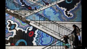 Decorated stairs in the centre of the Algerian capital, Algiers - Wednesday 16 April 2014