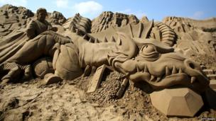 Wow, what a dragon! Weston-super-Mare's annual sand sculpture festival has begun and there are some pretty cool shapes that have been made.
