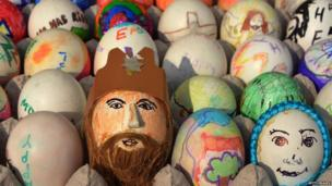 In India, children and adults decorated hard boiled eggs in Easter themes. Easter is a Christian festival which celebrates the resurrection of Jesus Christ.
