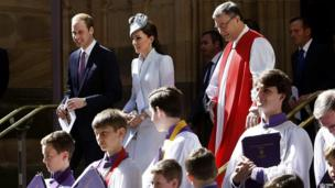 Down under, the Duke and Duchess of Cambridge attended Easter Sunday mass at St Andrews Cathedral in Sydney, Australia.