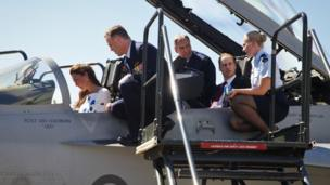 On Saturday 19 April the duke and duchess tried their hands at flying a jet! Well... almost. They plane stayed on the ground as they were given a tour of RAAF Base Amberley, near Brisbane, Australia.