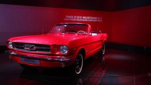 A 1965 Ford Mustang on display