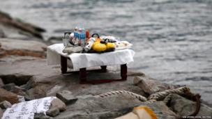 An altar with prayer offerings for missing passengers onboard South Korean ferry
