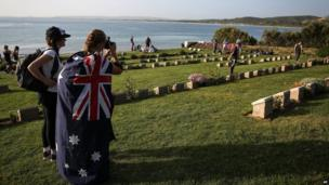 Australian and New Zealanders visit the Anzac Commemorative Site, North Beach, hours before the Dawn Service in Gallipoli, Turkey, on Thursday, 24 April, 2014