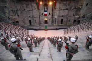 Soldiers of the French Foreign Legion stand during the rehearsal of the ceremony marking the commemoration of the battle of Camaron