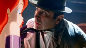 Bob Hoskins with 'Jessica Rabbit' in Who Framed Roger Rabbit