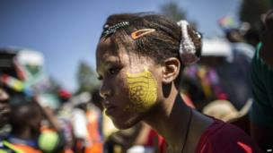 A girl with an ANC logo painted on her face, Pretoria, South Africa - Sunday 27 April 2014