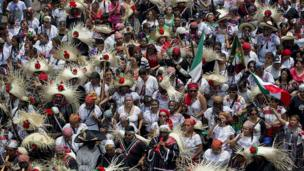 Mexicans celebrating the Battle of Puebla on 5 May 2014
