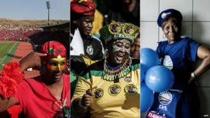 An Economic Freedom Fighters supporter wearing a mask in Atteridgeville, west of Pretoria C: ANC supporters at a stadium in Johannesburg – both 4 May 2014 R: Two DA supporters pose with balloons in Johannesburg – 3 May 2014