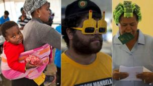 L: A baby on the back of a woman voting C: An ANC supporter wearing 3D glasses R: A voter with curlers in her hair - all South Africa, 7 May 2014