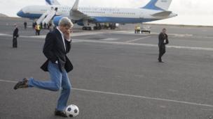 US Secretary of State John Kerry kicks a football, Sal Island, Cape Verde - Monday 5 May 2014