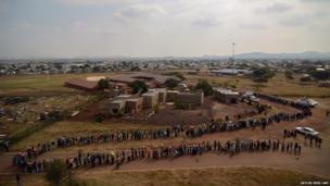 Voters queue at the Rakgatla High School voting station in Marikana
