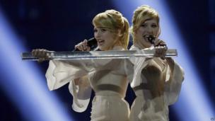 The Tolmachevy Sisters representing Russia perform the song Shine during the first semi-final of the Eurovision Song Contest in Copenhagen, Denmark.