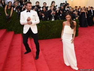 David and Victoria Beckham arrive at the Costume Institute Benefit at The Metropolitan Museum of Art in New York