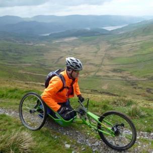 Hand-cyclist Paul Robinson above the Mawddach Estuary
