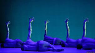 Members of the British male dance ensemble BalletBoyz perform during a dress rehearsal
