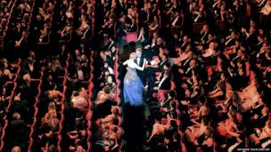 French actor and Master of Ceremony Lambert Wilson and Australian actress Nicole Kidman dance during the Opening Ceremony of the 67th edition of the Cannes Film Festival, southern France