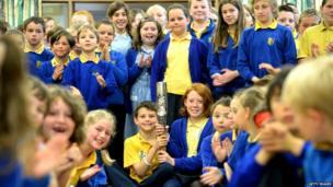 The Queen's Baton with schoolchildren at St Martin's Primary School