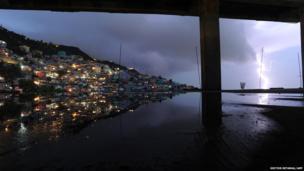 Lightning in the Haitian capital Port-au-Prince