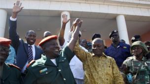 President-elect Jose Mario Vaz (right) and Guinea-Bissau Army Chief of Staff, General Antonio Indjai