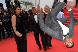 French dancer Brahim Zaibat flips on the red carpet