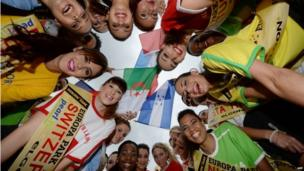 "Candidates for the ""Miss World Cup"" pose at Europa-Park in Rust, Germany"