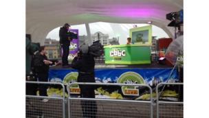 CBBC live in Newcastle Gateshead - Hacker rehearses on stage