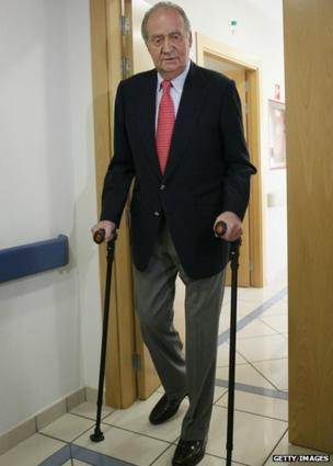 King Juan Carlos of Spain is discharged from hospital after undergoing hip replacement surgery, after fracturing his hip on a recent trip to Botswana, on April 18, 2012 in Madrid, Spain.