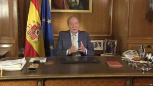 King Juan Carlos in a televised address to the nation