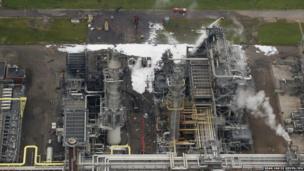 An aerial view of Shell Moerdijk chemical plant in Moerdijk, Netherlands