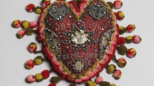 Heart pincushion, artist unknown