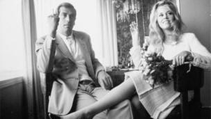 Jane Fonda and Roger Vadim at their Wedding in Las Vegas, 1965
