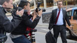 Former News of the World editor Andy Coulson arrives at the Old Bailey in London