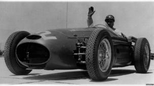 Juan Manuel Fangio competing for Maserati in 1954